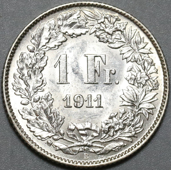 1911 Switzerland 1 Franc UNC Swiss Silver Coin (20072703C)