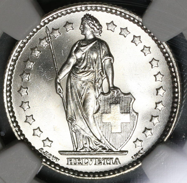 1916 NGC MS 65 Switzerland 1 Franc Mint State Swiss Silver Coin (20010303C)
