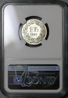 1936 NGC MS 65 PL Switzerland 1 Franc Proof Like Swiss Silver Coin POP 1/0 (20111401C)