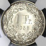 1956 NGC MS 67 Switzerland 1 Franc Mint State Swiss Coin POP 3/0 (21042501D)