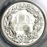 1965 PCGS MS 66 Switzerland 1 Franc Mint State Swiss Coin (19111201C)