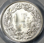 1965 PCGS MS 67 Switzerland 1 Franc Mint State Swiss Coin (19020504C)