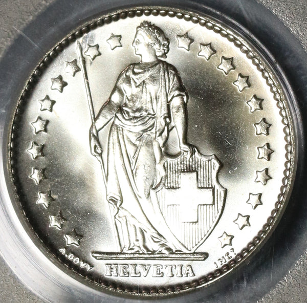 1965 PCGS MS 68 Switzerland 1 Franc Mint State Swiss Coin (19122603C)