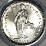 1966 PCGS MS 68 Switzerland 1 Franc Mint State Swiss Coin (19111703C)