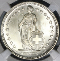 1931 NGC MS 66 Switzerland 2 Francs Mint State Swiss Silver Coin (20012203C)