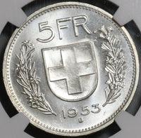 1953 NGC MS 65 Switzerland Silver 5 Francs William Tell Swiss Coin (20112202C)