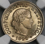 1922 NGC MS 67 Switzerland 5 Rappen Swiss Coin POP 2/0 (19032001C)