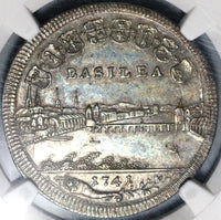1741 Basel NGC AU 53 1/2 Thaler Dragon City View Swiss Canton Coin (20092802R)