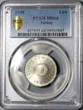 1948 PCGS MS 64 Turkey 1 Lira Last Silver Mint State Crescent Coin (20070803C)