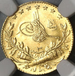 1911 NGC MS 63 Turkey GOLD 25 Kurush Ottoman Empire 1327/3 Mint State Coin POP 2/1 (20110601C)