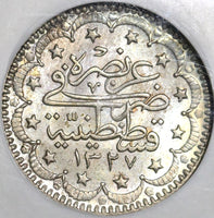 1915 NGC MS 63 Turkey 5 Kurush 1327/7 el-Ghazi Ottoman Empire Silver Coin (20103104C)