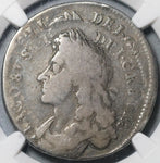 1686 NGC F 15 James II Mint Error 1/2 Crown Great Britain Silver Coin (21032105C