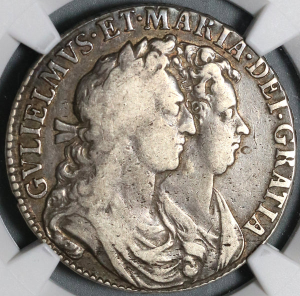 1689 NGC F 15 William Mary 1/2 Crown Great Britain Silver Coin (21020505C)