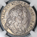 1692 NGC VF 30 William Mary R/G Error 1/2 Crown Great Britain Silver Coin POP 1/0 (21051501C)