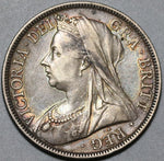 1898 Victoria 1/2 Crown XF Great Britain Silver Coin (20082704R)