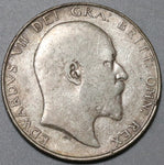 1909 Edward VII 1/2 Crown VF Great Britain Silver Coin (20040302C)