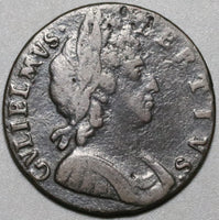 1696 1/2 Penny William III Great Britain England Coin (20042502R)