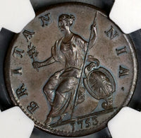 1753 NGC MS 63 George II 1/2 Penny Great Britain Mint State Coin (18083004C)