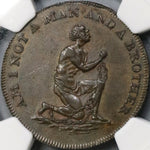 1790s NGC AU 53 Am I Not A Man Slavery Conder 1/2 Penny D&H 1037 (18062505C)