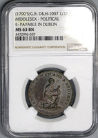 1790s NGC MS 63 Slave Conder 1/2 Penny Middlesex Slavery Token D&H 1037 (19080303C)