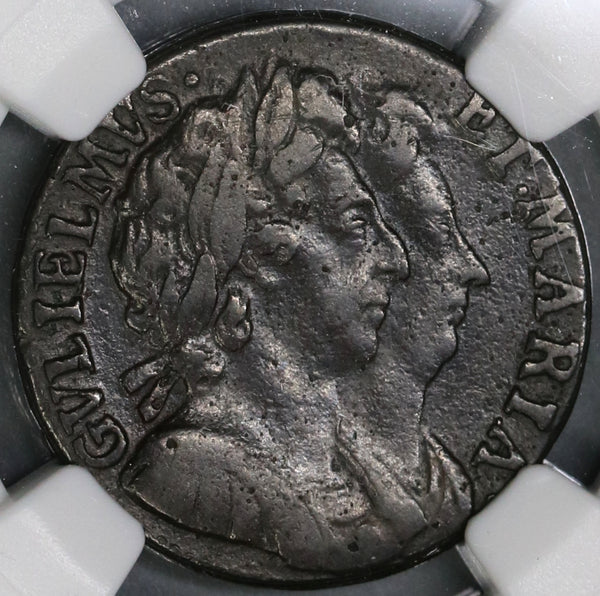 1694 NGC VF Det William Mary Farthing 1/4 Penny Great Britain Coin (19081705C)