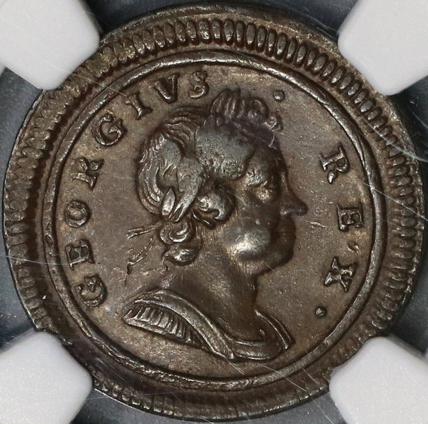1719 NGC AU 53 George I Farthing Scarce Small Letters Variety Great Britain Coin (18061103C)