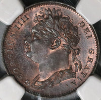 1821 NGC MS 65 George IV Farthing Great Britain Mint State Coin (19121801C)