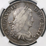 1662 NGC VF 25 Charles II Crown England Great Britain No Rose Silver Coin (19082505C)