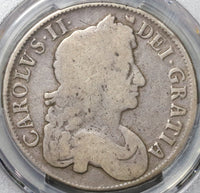 1677/6 PCGS VG 10 Charles II Crown Rare Overdate Great Britain Coin (20092902C)