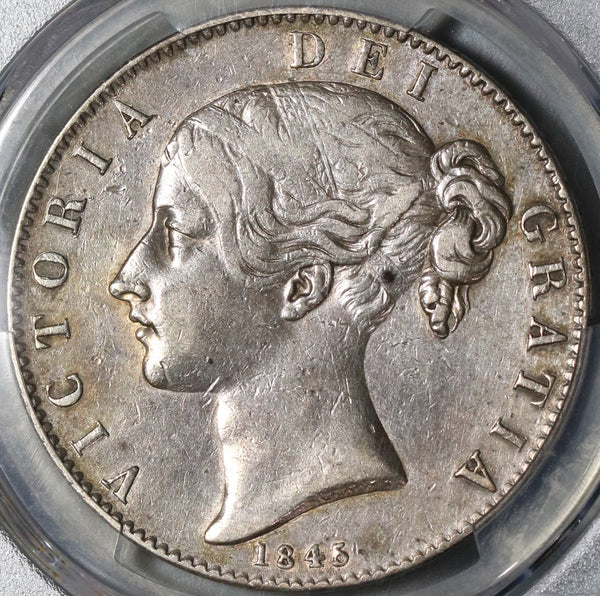 1845 PCGS XF Det Victoria Crown Great Britain Sterling Silver Coin (20111901D)