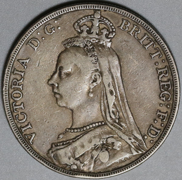 1889 Victoria Crown AVF Great Britain Sterling Silver St. George Dragon Coin (21022802R)