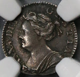 1706 NGC AU 55 Anne Penny Great Britain England Silver Coin POP 2/3 (18110403C)