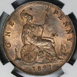 1891 NGC MS 63 Victoria Penny Great Britain RB Mint State Coin (20070302C)