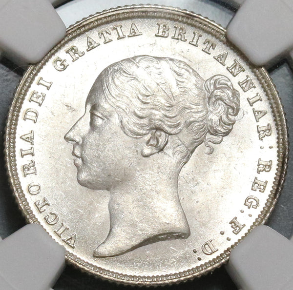1838 NGC MS 64 Victoria Shilling Great Britain Mint State Silver Coin (17091202D)