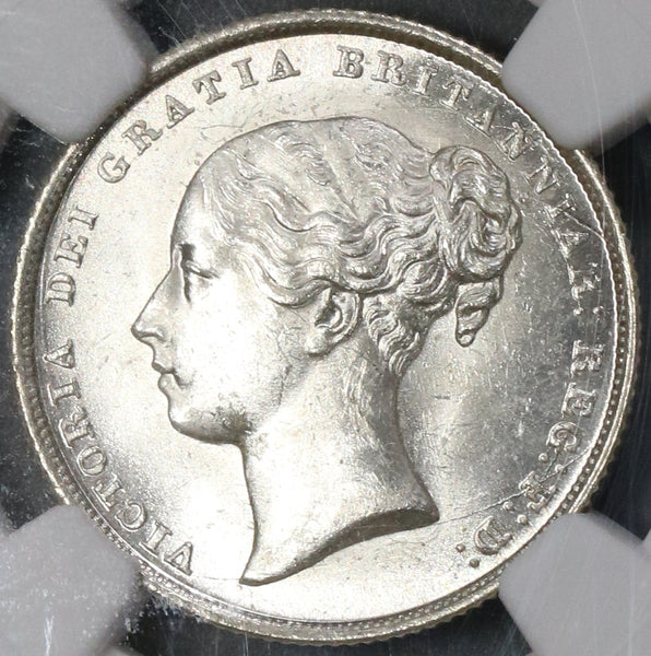 1842 NGC MS 63 Victoria Shilling GREAT BRITAIN Silver Coin (17051804D)