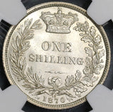 1870 NGC MS 63+ Victoria Shilling Great Britain Silver Coin Die 18 (17091204D)