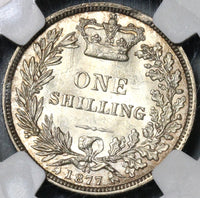 1877 NGC MS 63 Silver Shilling Victoria GREAT BRITAIN Coin Die No 44 (16122907D)