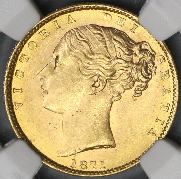 1871 NGC MS 64 Victoria Gold Sovereign Great Britain Shield Reverse Die 29 Coin (19033101C)