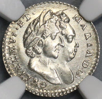 1694 NGC MS 61 Willaim Mary 2 Pence Britain England Coin POP 1/0 (18090208C)