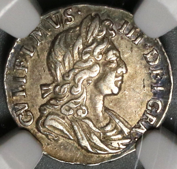 1698 NGC AU 55 William III 2 pence Great Britain Rare Silver 1/2 Groat Coin (19121903C)