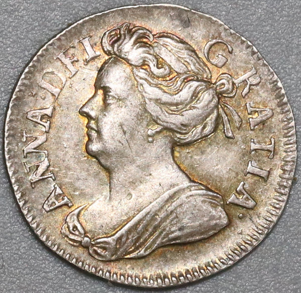 1706 Anne 2 Pence Great Britain AU 1/2 Groat Silver Coin (19021803R)