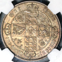 1879 NGC MS 62 Victoria Florin Great Britain Rare Date Sliver Coin (17040603D)