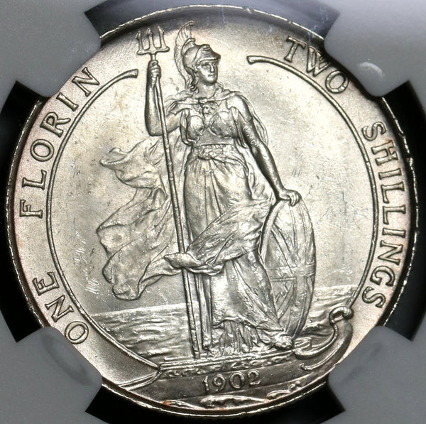 1902 NGC MS 63+ Edward VII Florin Great Britain Sterling Silver Coin (20111701C)