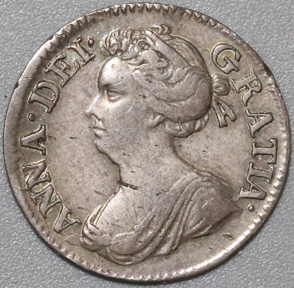 1704 Anne 3 Pence Silver VF England Great Britain Sterling Coin (21022004R)