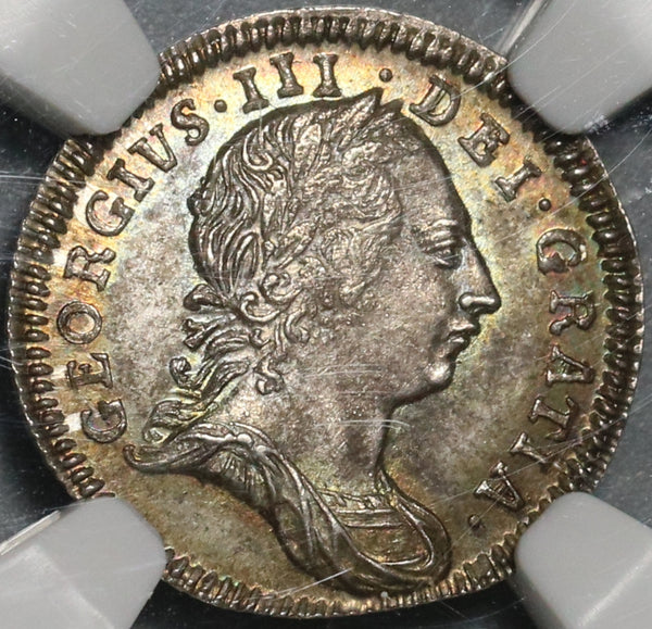 1772 NGC MS 64 George III 3 Pence Great Britain Silver Colonial Coin POP 1/2 (21032602C)