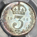 1908 PCGS PL 66 Edward VII 3 Pence Maundy Proof Like Great Britain Coin (20021901C)