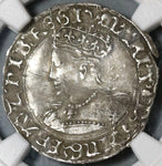 1553 NGC VF Det Queen Mary Groat 4 Pence Great Britain England Coin (20122701C)