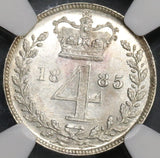 1885 NGC MS 65 Victoria Maundy 4 Pence Great Britain Silver Groat Coin (18110601C)
