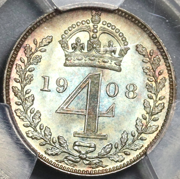 1908 PCGS PL 66 Edward VII 4 Pence Maundy Proof Like Great Britain Coin (20021902C)