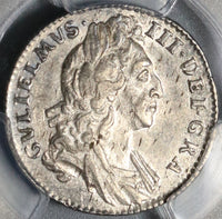1695 PCGS AU55 William III 6 Pence England Great Britain Rare Silver Coin (19101601C)